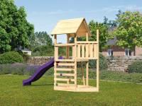 Akubi Spielturm Lotti Satteldach + Schiffsanbau oben + Kletterwand + Rutsche in violett