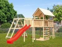 Akubi Spielturm Danny Satteldach + Rutsche rot + Doppelschaukelanbau Klettergerüst + Anbauplattform XL + Kletterwand