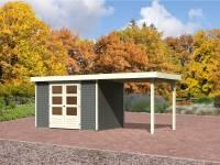 Karibu Aktions Gartenhaus Jever 4 in terragrau mit Anbaudach 2,40 Meter und Fußboden