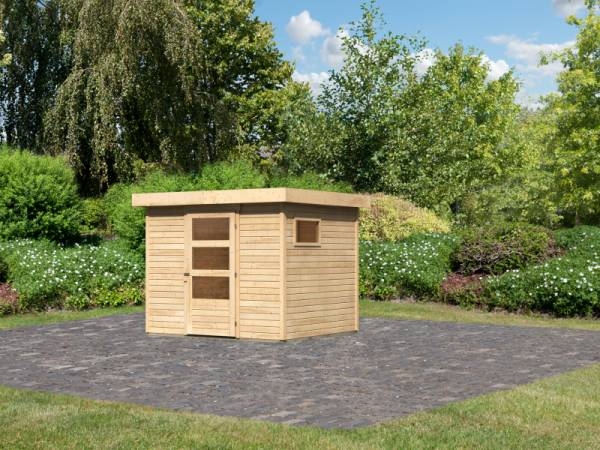 Karibu Woodfeeling Gartenhaus Oburg 4 natur 19 mm