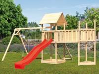 Akubi Spielturm Lotti Satteldach + Schiffsanbau oben + Doppelschaukel + Anbauplattform XL + Netzrampe + Rutsche in rot