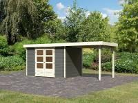 Karibu Woodfeeling Gartenhaus Askola 4 in terragrau mit Anbaudach 2,40 Meter
