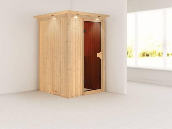 Lenja - Karibu Sauna Plug & Play ohne Ofen - mit Dachkranz - Moderne Saunatür