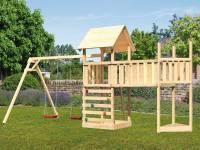 Akubi Spielturm Lotti Satteldach + Schiffsanbau oben + Doppelschaukel + Anbauplattform XL + Kletterwand