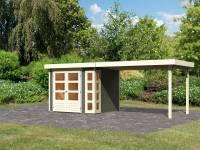 Karibu Woodfeeling Gartenhaus Kerko 3 in terragrau mit 2,80 m Anbaudach