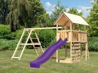 Akubi Spielturm Danny Satteldach + Rutsche violett + Doppelschaukelanbau Klettergerüst + Kletterwand