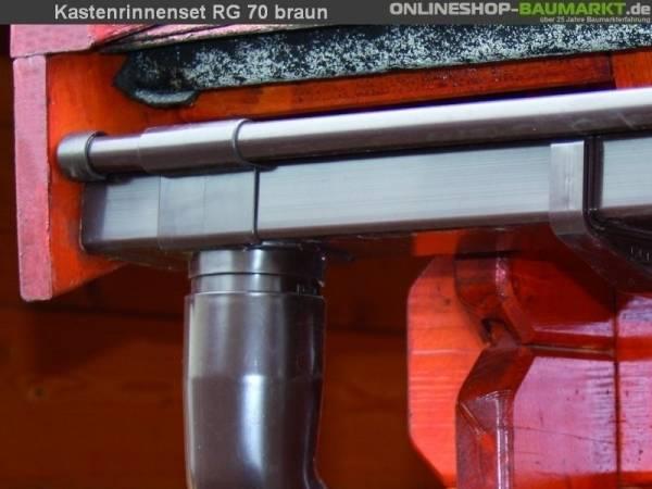 Dachrinnen Set RG 70 braun 200 cm zweiseitig