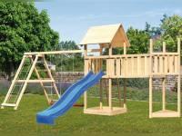 Akubi Spielturm Lotti Satteldach + Schiffsanbau oben + Doppelschaukel mit Klettergerüst + Anbauplattform XL + Rutsche in blau
