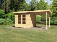 Karibu Woodfeeling Gartenhaus Kandern 3 mit Anbaudach 2,35 Meter