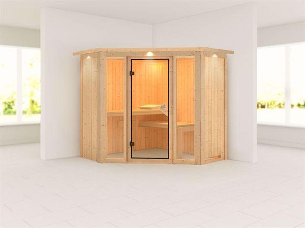 Flora 1 - Karibu Sauna ohne Ofen - mit Dachkranz -