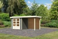 Karibu Woodfeeling Gartenhaus Askola 2 mit Anbaudach 2,40 m, Rückwand terragrau