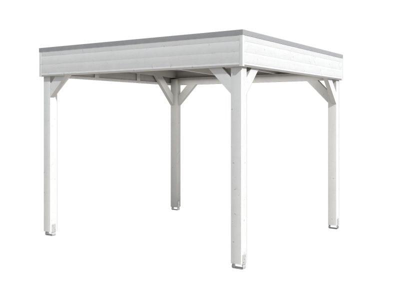 Skan Holz 4-Eck Pavillon Flachdach Toulouse in Weiß