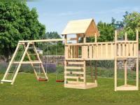 Akubi Spielturm Lotti Satteldach + Schiffsanbau oben + Doppelschaukel mit Klettergerüst + Anbauplattform XL + Kletterwand