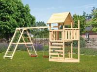 Akubi Spielturm Lotti Satteldach + Schiffsanbau oben + Doppelschaukel mit Klettergerüst + Kletterwand