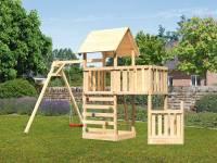 Akubi Spielturm Lotti + Schiffsanbau unten + Anbauplattform + Kletterwand + Einzelschaukel