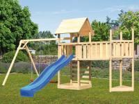 Akubi Spielturm Lotti Satteldach + Schiffsanbau oben + Doppelschaukel + Anbauplattform XL + Kletterwand + Rutsche in blau