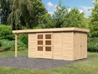 Karibu Woodfeeling Gartenhaus Retola 5 natur mit Anbauschrank und 1,50 Meter Anbaudach