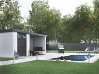Wolff Finnhaus Metall-Gerätehaus Eleganto 3024 mit Lounge rechts Weiß