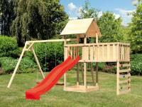 Akubi Spielturm Lotti Satteldach + Rutsche rot + Doppelschaukel + Anbauplattform XL + Kletterwand
