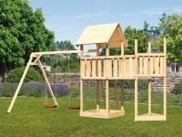 Akubi Spielturm Lotti Satteldach + Schiffsanbau oben + Anbauplattform + Doppelschaukel