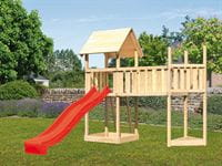 Akubi Spielturm Lotti Satteldach + Schiffsanbau oben + Anbauplattform XL + Rutsche in rot