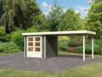 Karibu Woodfeeling Gartenhaus Askola 2 terragrau mit Anbaudach 2,80 Meter