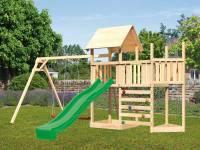 Akubi Spielturm Lotti Satteldach + Schiffsanbau oben + Anbauplattform + Doppelschaukel + Kletterwand + Rutsche in grün