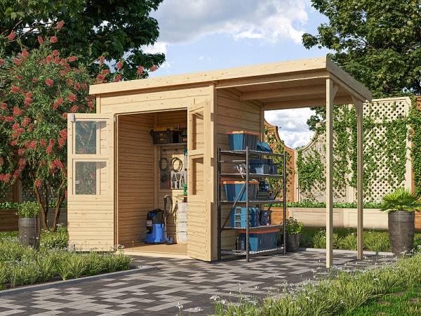 Karibu Gerätehaus Merseburg 2 SET mit Anbaudach