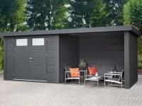 Wolff Finnhaus Metall-Gerätehaus Eleganto 2724 Granitgrau inkl. Lounge rechts, Dachrinne und Fallrohr