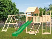 Akubi Spielturm Lotti Satteldach + Schiffsanbau oben + Anbauplattform + Doppelschaukel mit Klettergerüst + Netzrampe + Rutsche in grün