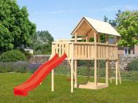 Akubi Spielturm Danny Satteldach + Rutsche rot + Einzelschaukel + Anbauplattform XL
