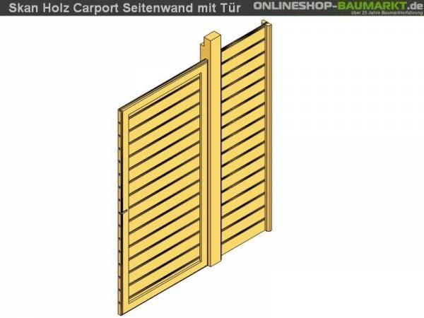 Skan Holz Seitenwand für Carport 141 x 200 cm mit Tür Profilschalung