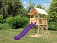Akubi Spielturm Danny Satteldach + Rutsche violett + Netzrampe