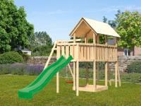 Akubi Spielturm Danny Satteldach + Rutsche grün + Einzelschaukel + Anbauplattform