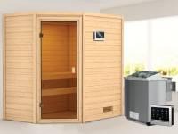 Karibu Woodfeeling Sauna Jella mit 4,5 kW BIO-Ofen ext. Strg