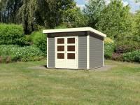Karibu Woodfeeling Gartenhaus Kandern 6 in terragrau 28 mm