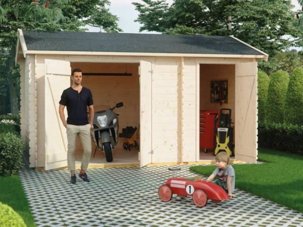 Skan Holz Blockbohlenhaus Flexi Größe 1, 420 x 200 cm