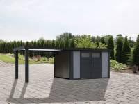 Wolff Finnhaus Metallhaus Eleganto 2724 mit 280 cm Seitendach links, lichtgrau inkl. Dachrinne, Fallrohr