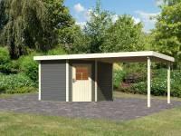 Karibu Woodfeeling Gartenhaus Neuruppin 3 terragrau mit Anbaudach 3,2 m