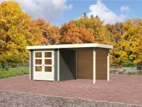 Karibu Gartenhaus Jever 2 in terragrau mit Fußboden, Dacheindeckung und Anbaudach 2,40 m, Rückwand