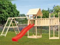 Akubi Spielturm Lotti Satteldach + Schiffsanbau oben + Doppelschaukel mit Klettergerüst + Anbauplattform XL + Rutsche in rot
