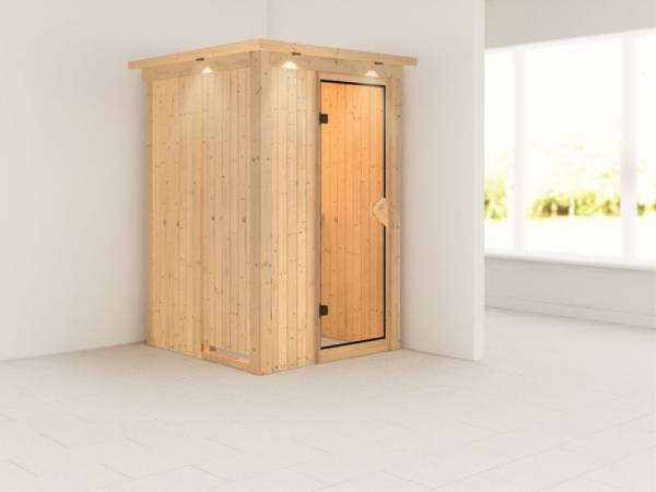 Lenja - Karibu Sauna Plug & Play ohne Ofen - mit Dachkranz - Klarglas Ganzglastür