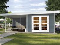 Weka Gartenhaus 126 Plus Gr. 1 grau mit Anbaudach 300 cm