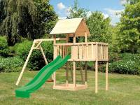 Akubi Spielturm Lotti natur- Anbauplattform- Einzelschaukel- Rutsche grün
