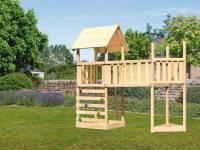 Akubi Spielturm Lotti Satteldach + Schiffsanbau oben + Anbauplattform XL + Kletterwand