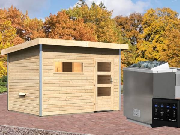 Karibu Aktionssaunahaus Erik 2 38 mm mit 9 kW BIO-Ofen ext. Strg. naturbelassen