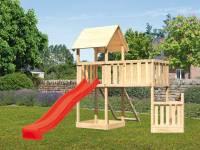 Akubi Spielturm Lotti + Schiffsanbau unten + Anbauplattform XL + Netzrampe + Rutsche rot