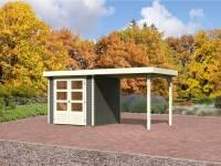 Karibu Aktions-Gartenhaus Jever 2 terragrau mit Anbaudach 2,40 Meter