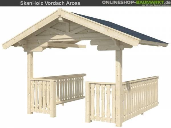 Skan Holz Vordach mit Brüstung 300 cm für Arosa
