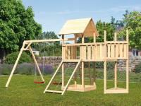 Akubi Spielturm Lotti Satteldach + Schiffsanbau oben + Anbauplattform + Doppelschaukel + Netzrampe